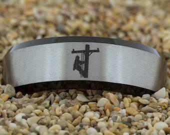8mm Black Beveled Satin Finish Tungsten Carbide Band Linemen Design Ring-Free Inside Engraving And Free US Shipping