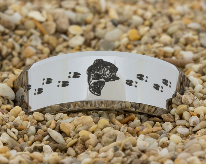 10mm Beveled Tungsten Carbide Band Bass & Deer With Tracks Design Ring-Free Inside Engraving And Free US Shipping