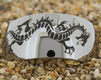 Tungsten Band (Free Inside Engraving) on a 12mm Dome Tungsten Carbide comfort fit black lasered Dragon design