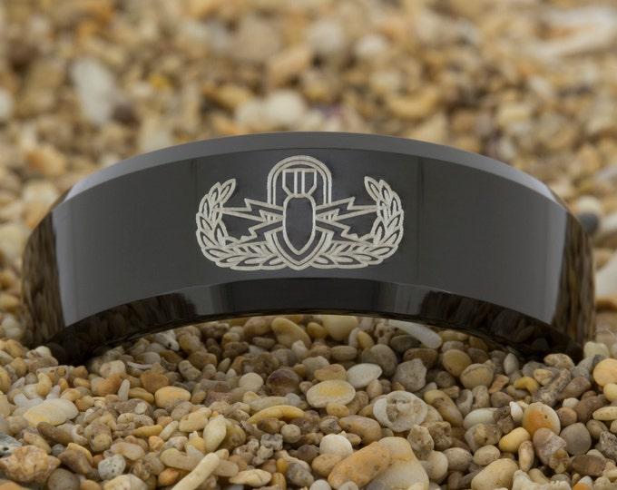 Black Tungsten Ring (Free Inside Engraving) on a 8mm Black Bevel Tungsten Carbide comfort fit lasered design