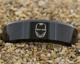 8mm Black Beveled Tungsten Carbide Band Iron Man Design Ring-Free Inside Engraving And Free US Shipping