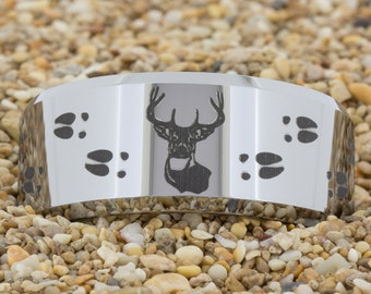 10mm Beveled Tungsten Carbide Band Deer Hunting Design Ring-Free Inside Engraving And Free US Shipping