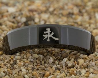 7mm Beveled-Tungsten Kanji Eternity, Tungsten Ring, Jewelry, Ring, Black Tungsten Ring, Gold Tungsten Ring, Free Engraving, Free Shipping