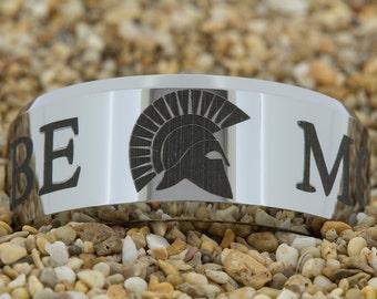 Custom 10mm Beveled-Tungsten Military Molon Labe, Tungsten Ring, Men's Tungsten Wedding Band, Engagement Ring, Wedding Ring, Tungsten Band