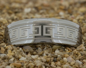 8mm Pipe Tungsten Carbide Band Greek Key Design Ring-Free Inside Engraving And Free US Shipping