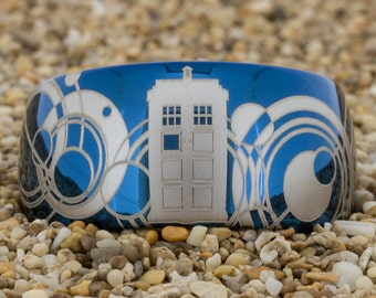 Tungsten Ring 12mm Blue Dome Tungsten Carbide Band Doctor Who Tardis Design Ring-Free Inside Engraving And Free US Shipping