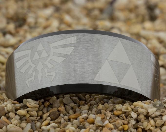 10mm Black Beveled Satin Finish Tungsten Carbide Band Zelda Design Ring-Free Inside Engraving And Free US Shipping