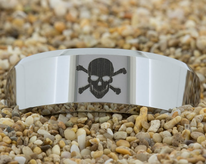 Tungsten Ring 8mm Beveled-Tungsten Skull, Black Men's Tungsten Wedding Band, Ring, Engagement Ring, Wedding Ring, Tungsten Band