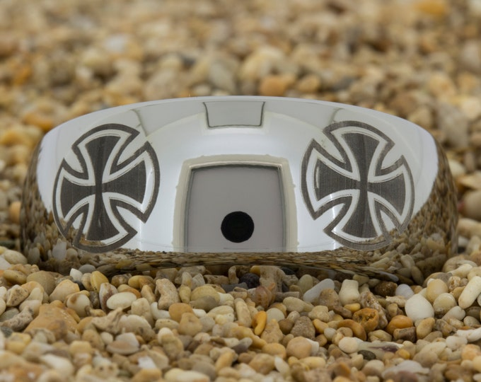 Tungsten Ring (Free Inside Engraving) on a 10mm Dome Tungsten Carbide comfort fit black lasered Maltese Cross design evenly spaced around