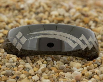 Black Tungsten (Free Inside Engraving) on a 8mm Dome Black Tungsten Carbide comfort fit black lasered Custom design
