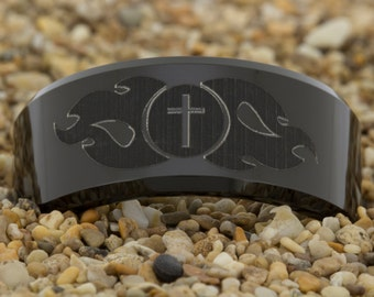 10mm Beveled-Tungsten Cross and Fire, Black Tungsten Ring, Wedding Jewelry, Tungsten Carbide Ring, Engagement Ring, Free Inside Engraving