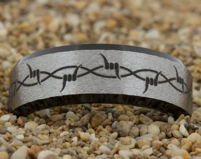 8mm Black Beveled Stone Finish Tungsten Carbide Band Barbed Wire Design Ring-Free Inside Engraving And Free US Shipping
