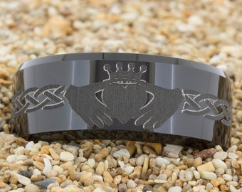 10mm Bevel-Tungsten Celtic Claddagh, Tungsten Ring, Jewelry, Ring, Black Tungsten Ring, Gold Tungsten Ring, Free Engraving, Free Shipping