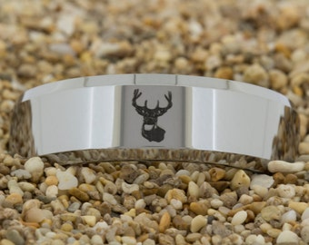 8mm Beveled Tungsten Carbide Band Deer Hunting Design Ring-Free Inside Engraving And Free US Shipping