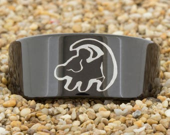 9mm Black Pipe Tungsten Carbide Band Lion King Design Ring-Free Inside Engraving And Free US Shipping