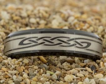 Black Tungsten Mens Wedding Band (Free Inside Engraving) on a 7mm Black Beveled Tungsten Carbide Celtic Design