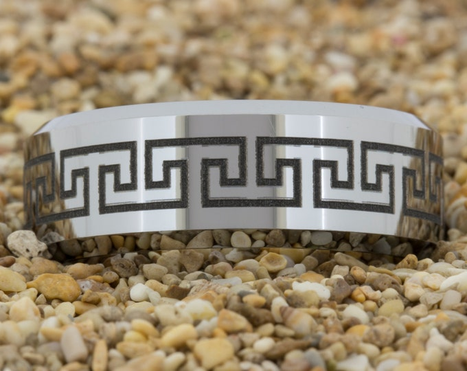 Tungsten Band (Free Inside Engraving) on a 8mm Bevel Tungsten Carbide comfort fit Black lasered Greek Key design