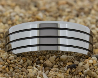 Tungsten Ring  (Free Inside Engraving) on a 9mm Bevel Tungsten Carbide comfort fit 3 enamel grove ring