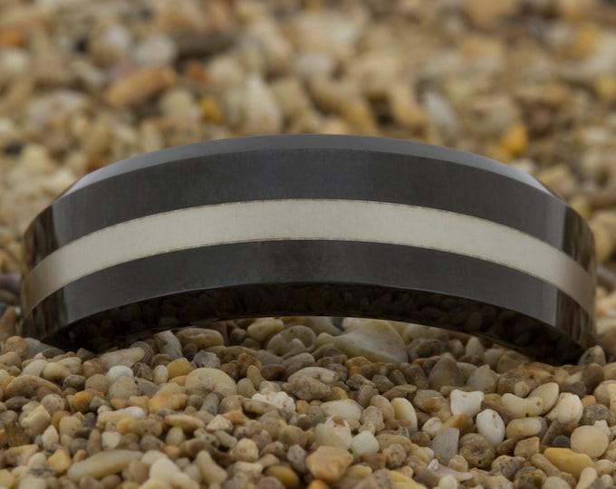 Black Tungsten Ring (Free Inside Engraving) on a 7mm Black Beveled Tungsten Carbide Silver lasered lines Design