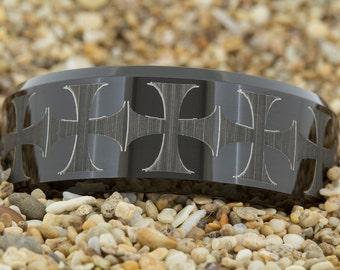 10mm Beveled- 12 Maltese Cross, Black Tungsten Ring, Wedding Jewelry, Tungsten Carbide Ring, Engagement Ring