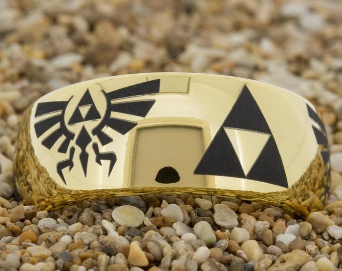 7mm And 9mm Dome-Tungsten Zelda Design, Mens Black Tungsten Ring, Wedding Jewelry, Tungsten Carbide Ring, Free Inside Engraving