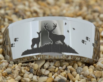 10mm Tungsten Carbide Band Deer Tacks Design Ring-Free Inside Engraving And Free US Shipping