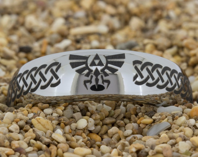 6mm Dome Tungsten Carbide Band Zelda Design Ring-Free Inside Engraving And Free US Shipping