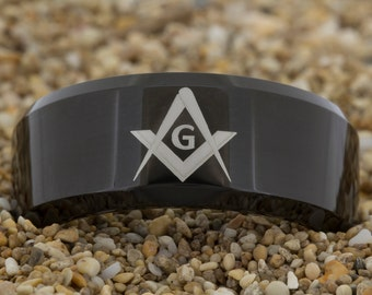 10mm Beveled-Tungsten Masonic, Mens Tungsten Band, Black Tungsten Ring, Tungsten Carbide Ring, Engagement Ring, Free Inside Engraving