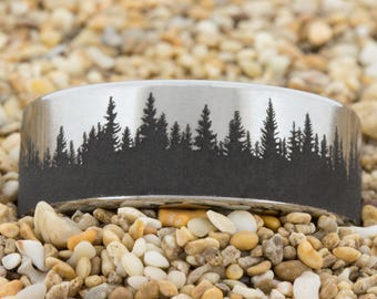 8mm Pipe Tungsten Carbide Band Tree Outdoors Design Ring-Free Inside Engraving And Free US Shipping