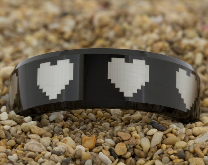 Black Tungsten Band (Free Inside Engraving) on a 8mm Black Bevel Tungsten Carbide comfort fit lasered 8-Bit Heart design