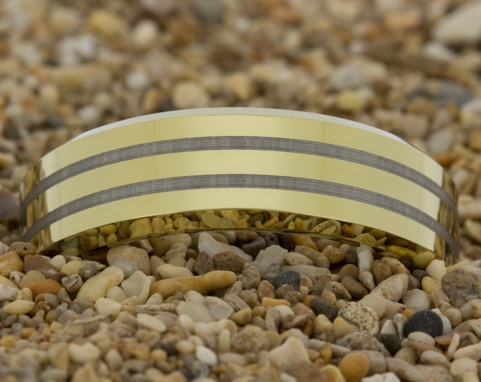 Tungsten Carbide Gold Band (Free Inside Engraving) on a 7mm Gold Bevel Tungsten Carbide comfort fit lasered design