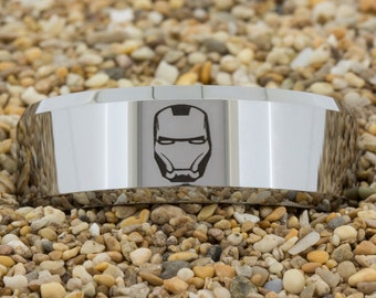 8mm Beveled Tungsten Carbide Band Iron Man Design Ring-Free Inside Engraving And Free US Shipping
