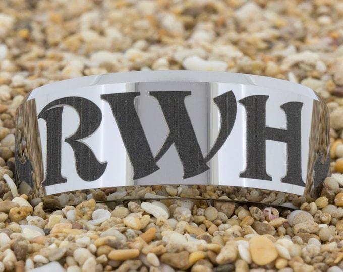 10mm Beveled-Tungsten Return With Honor, Tungsten Wedding Band, Men's Tungsten Wedding Band, Engagement Ring, Wedding Ring, Tungsten Band