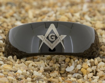 9mm Black Dome Tungsten Carbide Band Masonic Square and Compass Design Ring-Free Inside Engraving And Free US Shipping