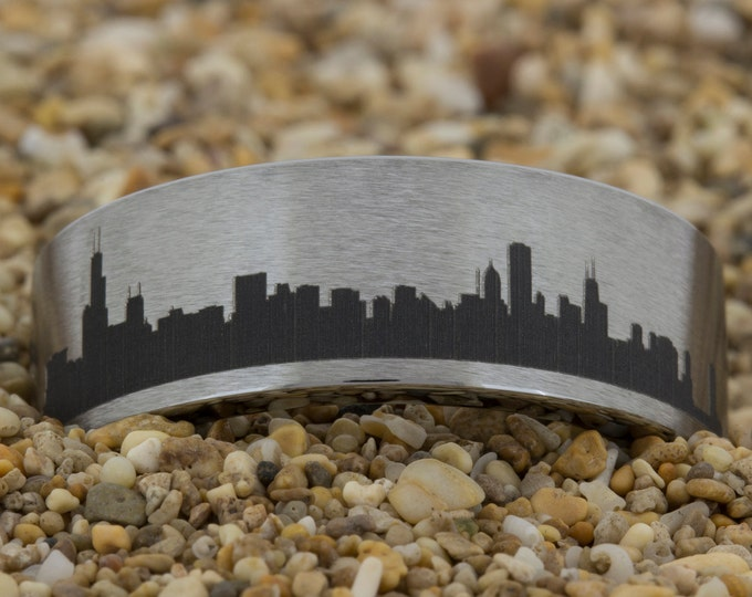8mm Pipe Satin Finish Tungsten Carbide Band Chicago Skyline Design Ring-Free Inside Engraving And Free US Shipping