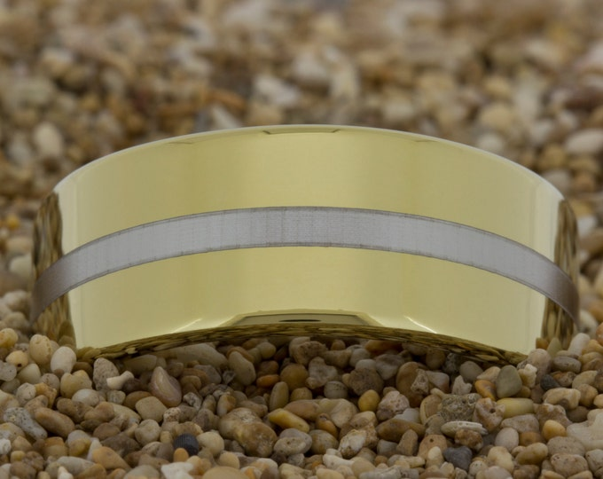 Tungsten Carbide Gold Band (Free Inside Engraving) on a 9mm Gold Pipe Tungsten Carbide comfort fit Lasered Line design
