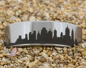 8mm Pipe Satin Finish Tungsten Carbide Band New York Skyline Design Ring-Free Inside Engraving And Free US Shipping