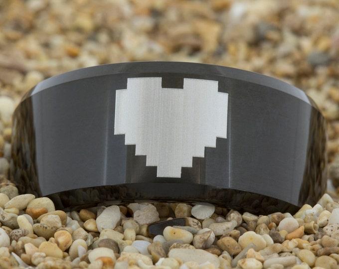 10mm Beveled-Tungsten Zelda Heart, Mens Black Tungsten Ring, Wedding Jewelry, Tungsten Carbide Ring, Engagement Ring, Free Inside Engraving