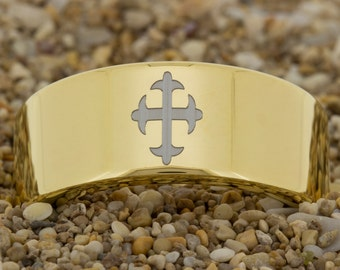 Tungsten Carbide Gold (Free Inside Engraving) on a 9mm Gold Pipe Tungsten Carbide comfort fit Custom Cross black laser design