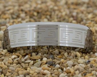 Tungsten Ring (Free Inside Engraving) on a 8mm Beveled Tungsten Carbide comfort fit black lasered Greek Key design
