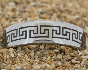8mm Pipe-Tungsten Greek Key, Mens Black Tungsten Ring, Wedding Jewelry, Tungsten Carbide Ring, Engagement Ring, Free Inside Engraving