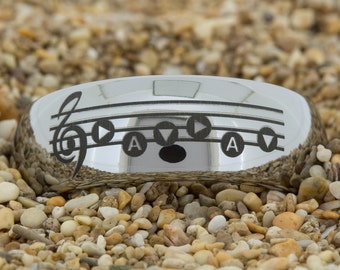 8mm Dome-Tungsten Zelda Song, Mens Black Tungsten Ring, Wedding Jewelry, Tungsten Carbide Ring, Engagement Ring, Free Inside Engraving