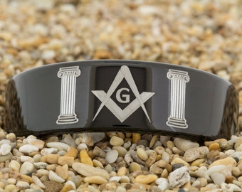 9mm Black Pipe Finish Tungsten Carbide Band Masonic Design Ring-Free Inside Engraving And Free US Shipping