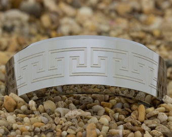 8mm Beveled-Tungsten Greek Key, Tungsten Ring, Jewelry, Ring, Black Tungsten Ring, Gold Tungsten Ring, Free Engraving, Free Shipping