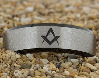 8mm Beveled-Tungsten Masonic, Mens Tungsten Wedding Band, Black Tungsten Ring, Tungsten Carbide Ring, Engagement Ring, Free Inside Engraving