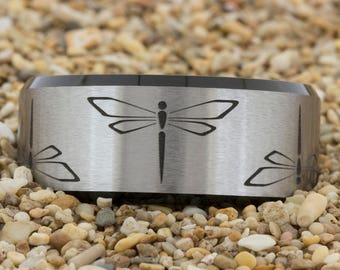 10mm Black Beveled Satin Finish Tungsten Carbide Band Custom Design Ring-Free Inside Engraving And Free US Shipping