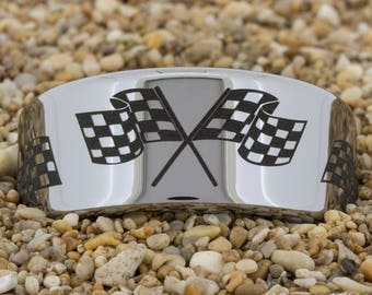 10mm Pipe Checkered Racing Flags Tungsten Carbide Band  Deer and Duck Design Ring-Free Inside Engraving And Free US Shipping