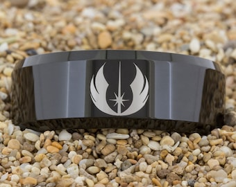 8mm Black Beveled Tungsten Carbide Band Star Wars Jedi- I Know Design Ring-Free Inside Engraving And Free US Shipping