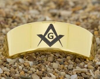 9mm Pipe-Tungsten Masonic, Mens Tungsten Wedding Band, Gold Tungsten Ring, Tungsten Carbide Ring, Engagement Ring, Free Inside Engraving