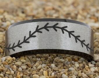 10mm Black Beveled Satin Finish Tungsten Carbide Band Baseball Stitch Design Ring-Free Inside Engraving And Free US Shipping